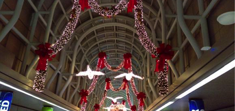 The American Terminal at O'Hare Airport, decorated for the holidays. The welcome starts as soon as you step off of a plane.