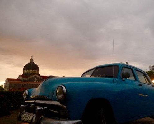 american car havana sunset